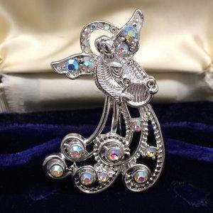 CHRISTMAS ANGEL BROOCH WITH HARP AND RHINESTONES